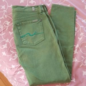 7 for all mankind green color jean